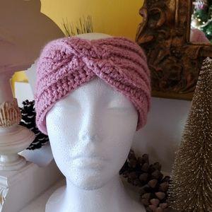 Rose Metallic Crocheted Ear Warmer Headband